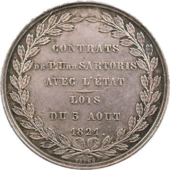 Compagnie des Trois canaux (Ardennes, Somme, Oise), jeton en argent, 1821-1835 (1845-1860)