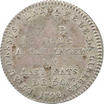 Constitution, Bon pour 10 sols Lefèvre et Lesage, An 4, 1792 Paris (frappe monnaie)