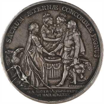 Louis XV, mariage du dauphin Louis (XVI) et de Marie-Antoinette, revers de Lorthior, 1770 Paris