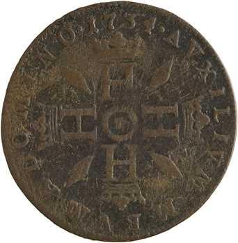 Monaco, Honoré III, Pezzetta ou pièce de 3 sols, 1734 Monaco