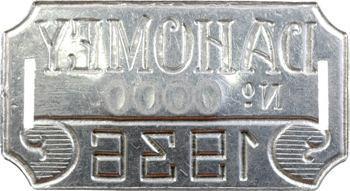 Dahomey, plaque de taxe n° 0000, 1936