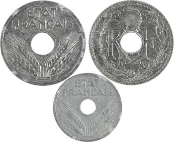 État français, lot de 3 pièces de 10 centimes, Lindauer et État Français, 1941 et 1943 Paris