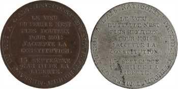 Constitution, Monneron au serment du Roi, An III, 1791 Birmingham, joint un ex. en étain