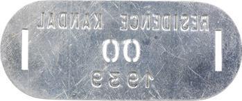 Indochine, Cambodge, Kandal (Résidence de), plaque de taxe n° 00, 1939