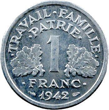 État Français, essai-piéfort de 1 franc francisque, 1942 Paris