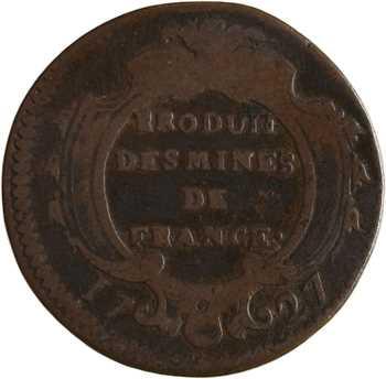 Louis XV, pièce de seize deniers des mines de France, 1727 Pau