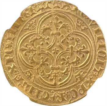 Charles VI, écu d'or à la couronne, 3e émission, Troyes, NGC AU55