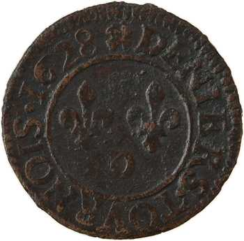 Louis XIII, denier tournois 4e type, 1628 Lyon