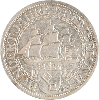 Allemagne (Empire d'), 3 reichsmark Bremerhaven, 1927 Berlin PROOF