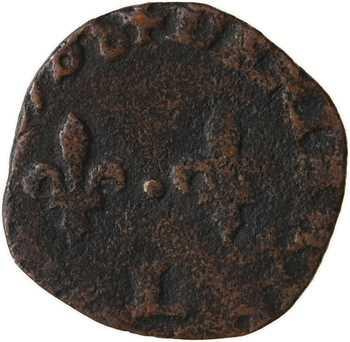 Henri III, denier tournois, buste à droite, 1588 Bayonne