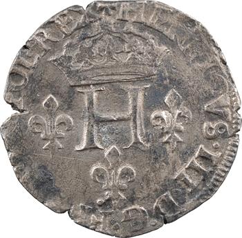 Henri III, double sol parisis, 2e type, 1579 Troyes