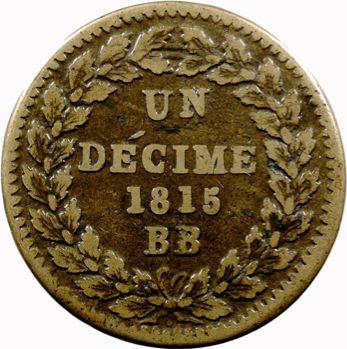 Louis XVIII, un décime à l'L couronnée, 1815 Strasbourg