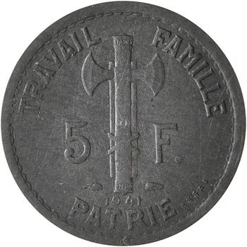 État français, essai uniface de 5 francs Pétain type III en zinc, tranche lisse, 1941 Paris