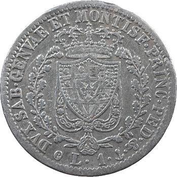 Italie, Savoie-Sardaigne, Charles-Félix, 1 lire, 1827 Gênes