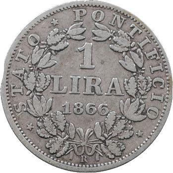 Vatican, Pie IX, 1 lire petit buste, 1866/XXI Rome