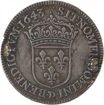 Louis XIII, quart d'écu d'argent à la mèche longue, 3e type (2e poinçon), 1643 Lyon (3 points)
