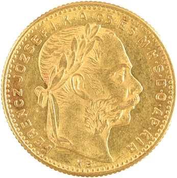 Hongrie, François-Joseph, 20 francs ou 8 forint, 1891 Kremnitz