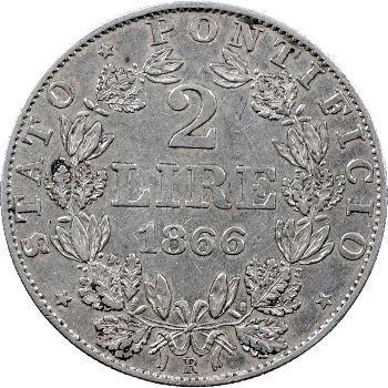 Vatican, Pie IX, 2 lire, 1866/XXI Rome