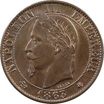 Second Empire, cinq centimes tête laurée, 1863 Paris