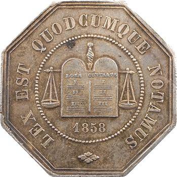 Second Empire, jeton de la compagnie des notaires de Péronne, 1858 Paris