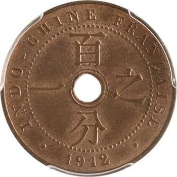 Indochine, 1 centième, 1912 Paris, PCGS MS64RB