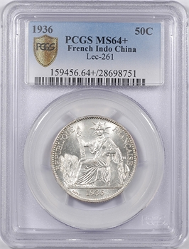 Indochine, 50 centièmes, 1936 Paris, PCGS MS64+