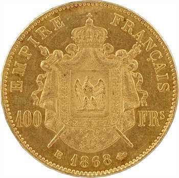 Second Empire, 100 francs tête laurée, 1868 Strasbourg