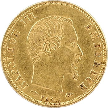 Second Empire, 5 francs tête nue, grand module, 1857 Paris