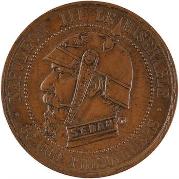 Guerre de 1870, Napoléon III, médaille satirique de Type E, 1870