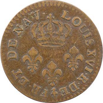 Guyane, Louis XVI, Cayenne, 2 sous de fabrication locale, 1789 [Paris] Guyane