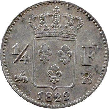 Louis XVIII, 1/4 de franc, 1822 Rouen