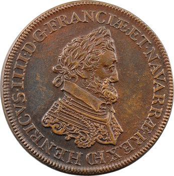 Henri IV, jeton ou médaille, passe des monnayeurs de l'atelier de Châlons-en-Champagne, [1591] refrappe bronze, Paris