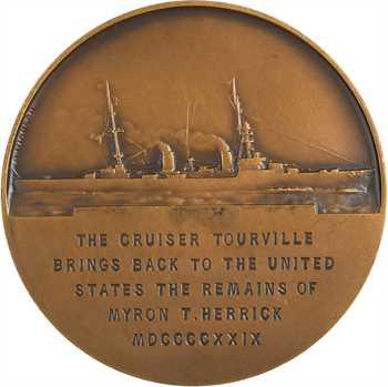 États-Unis, le retour aux U.S.A. du corps de Myron T. Herrick (croiseur Tourville), par Legastelois et Morlon, 1929 Paris