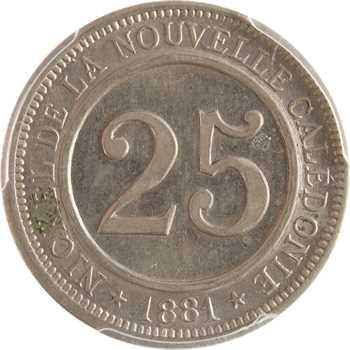 Nouvelle-Calédonie, Société le Nickel, 25 centimes, frappe monnaie, 1881, PCGS SP63