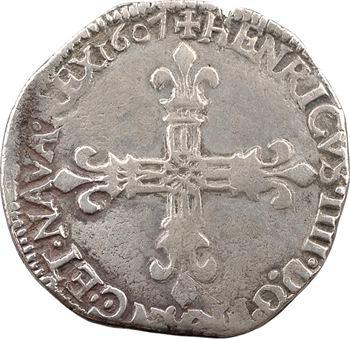 Henri IV, quart d'écu, croix fleurdelisée de face, 1607 Nantes