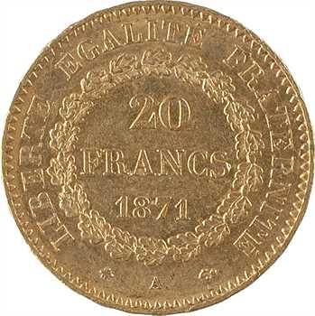 IIIe République, 20 francs Génie, 1871 Paris