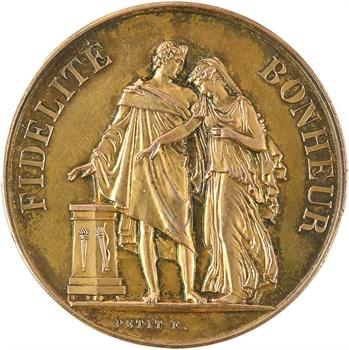 IIIe République, médaille de mariage, par Petit, 1886 Paris