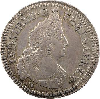 Louis XIV, demi-écu aux insignes, buste du type aux palmes, 1701 Lyon