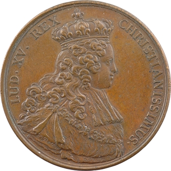 Louis XV, sacre à Reims le 25 octobre 1722, par J.-C. Roëttiers, bronze, 1722 [après 1880] Paris