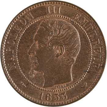 Second Empire, dix centimes tête nue, visite de la Bourse de Lille, 1853
