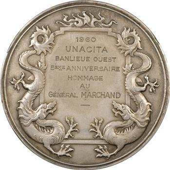 Indochine, médaille par Lindauer, hommage au général Marchand, 1960