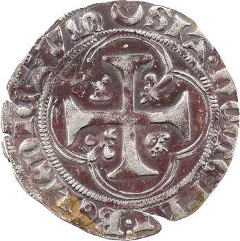 Charles VII, blanc à la couronne (croissant, pas de point), 1re émission, Châlons-en-Champagne