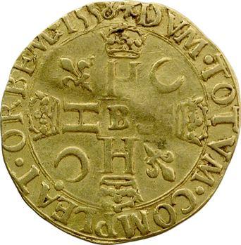 Henri II, henri d'or 1er type, 1557 Rouen