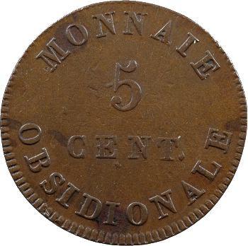 Premier Empire, siège d'Anvers, 5 centimes, 1814 Anvers