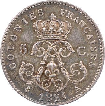 Louis XVIII, essai-piéfort en argent de 5 centimes pour les colonies, 1824 Paris