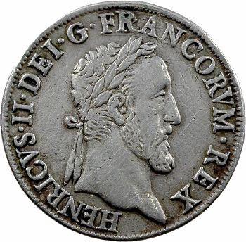 Henri II, teston frappé au moulin de Paris, 3e type, 1554
