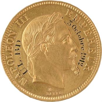 IIIe République, 100 francs Napoléon III tête laurée transformée en médaille de mariage, 1862/1912 Paris