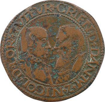 Danemark/Lorraine, jeton de Christine de Danemark et Nicolas de Vaudémont, régents, 1553 Nancy
