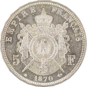 Second Empire, 5 francs tête laurée, 1870 Paris