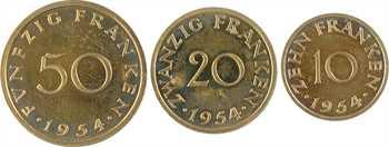 IVe République, Sarre, coffret des 3 essais, 10, 20 et 50 francs, 1954 Paris